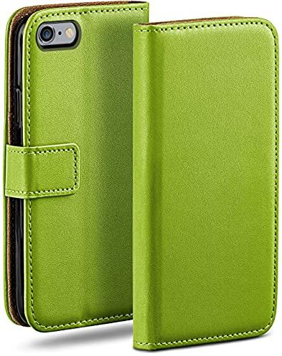 moex Klapphülle kompatibel mit iPhone 6s Plus / 6 Plus Hülle klappbar, Handyhülle mit Kartenfach, 360 Grad Flip Hülle, Vegan Leder Handytasche, Grün
