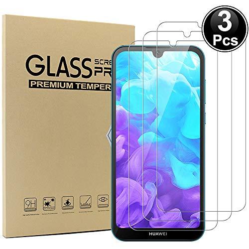 Ash-case [3 Stück] Panzerglas Schutzfolie für Huawei Y5 2019, Anti- Kratzer, Bläschenfrei, 9H Festigkeit, HD-Klar, 3D R&e Kante [Transparenz]