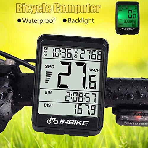 Ballylelly Wire/Wireless Cycling Bike Computer Bicicleta LED Velocímetro Cuentakilómetros Retroiluminación Pantalla LCD...