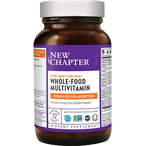 New Chapter Men's Multivitamin, Every Man's One Daily, Fermented with Probiotics + Selenium + B Vitamins + Vitamin D3 + Organic Non-GMO Ingredients - 72 Count (Packaging May Vary)