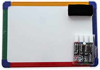 Magnetic Whiteboard Double-sided A3 Color Framed with Markers and Magnetic Eraser