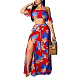 Women's Sexy Tube Off Shoulder Floral Printed Side Slit Two-Piece Maxi Dress Red L