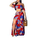 2pcs Floral Women Suits Wrapped Crop Top + Long Skirt Set Party Club Maxi Dress Red 2XL