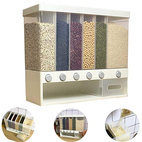 Cereal Dispenser Dry Food Container - Wall-Mounted/Kitchen Counter Top 6 Compartments for For Millet, Rice, Corn, Soybean, Oatmeal, Coffee Beans (1pcs)