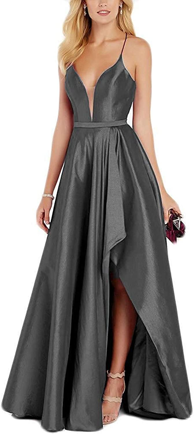 Staypretty Halter Prom Gowns Satin V NCK High Low Evening Party Dresses with Pockets