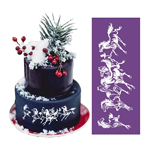 """ART Kitchenware 18.1""""×7.5"""" Large Running Horse Lace Mesh Stencil Lace Cake Stencil Birthday Cake Side Stencils Template Mold Cake Decorating Bakery Tool MST-19 Purple Color"""