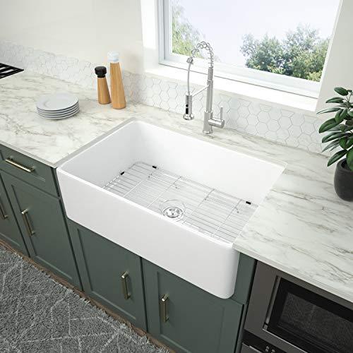 Fireclay Farmhouse Sink - Logmey 30 Inch Farmhouse Sink Deep Single Bowl White Ceramic Porcelain Fireclay Apron-Front Kitchen Farm Sink