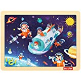 LOL-FUN 24 Piece Puzzles for Kids Ages 3-5, Planet Wooden Jigsaw Puzzles for 3 Year Old Preschool
