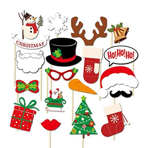 Tinksky 19 piezas de accesorios navideños para fotos, muñeco de nieve, guantes, campanas, botas, accesorios para decoración de fiestas de Navidad