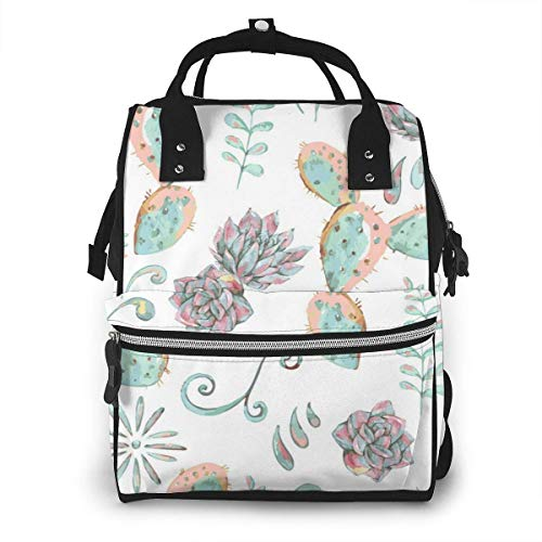 UUwant Sac à Dos à Couches pour Maman Large Capacity Travel Manager Baby Care Replacement Bag Nappy Bags Mummy BackpackExotic Natural Vintage Watercolor Bouquet in Boho Style Cactus Succulent Flower