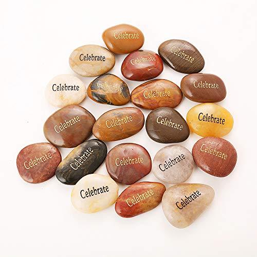 50PCS Celebrate RockImpact Celebrate Stones Encouragement Stones Engraved Inspirational Stones Energy Zen Reiki Healing Balancing Inspiring Prayer Gifts Bulk Wholesale Celebrate Rock, 2-3 Each