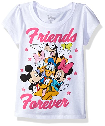 Disney Toddler Girls  Mickey and Friends Short Sleeve Puff Tee, White, 5T