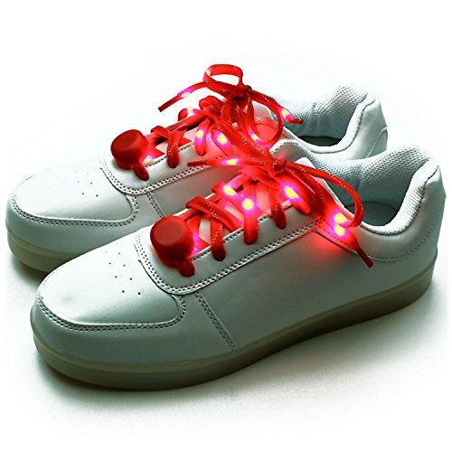 Ucult Blink-Schnürsenkel Leuchtende LED Nylon Schnürsenkel für Sneaker und Taschen etc. (Rot)