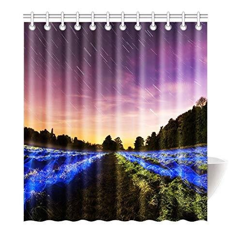 HUIJU Rideau de Douche Polar lumière Bleu Violet Haute qualité Salle de Bain 160 x 180 cm