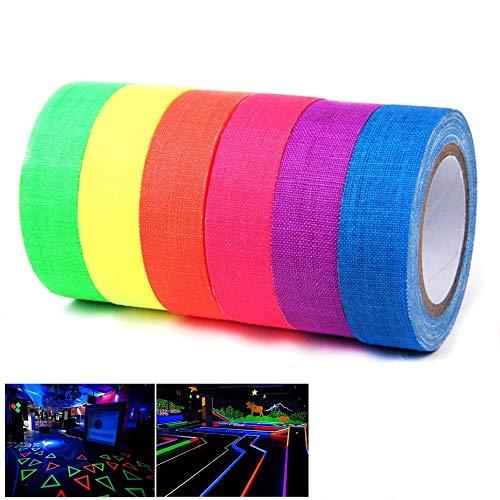 Neon Klebeband HITECHLIFE 6 Stück Fluorescent Tape UV aktiv Tape Schwarzlicht Klebeband Gewebeband für Böden, Bühnen, Whiteboard