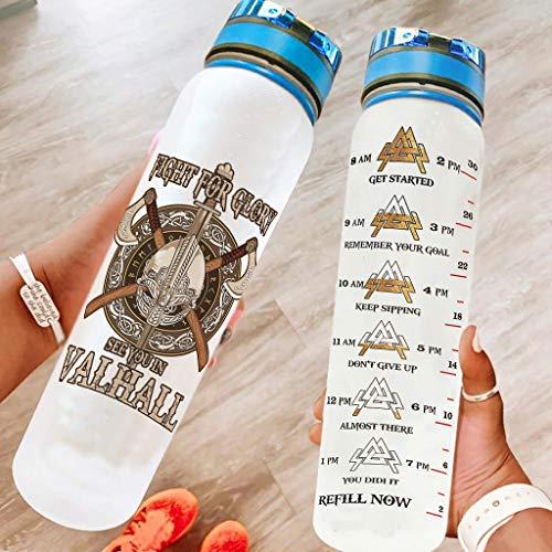 Niersensea Botella de agua deportiva con diseño de hacha vikingo, sin BPA, Tritan, botella de agua ligera con marcador de tiempo para viajes, camping, deportes al aire libre, color blanco, 1000 ml