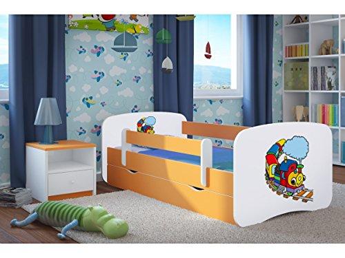 Kinderbett Jugendbett 70x140 80x160 80x180 Buche mit Rausfallschutz Matratze Schublade und Lattenrost Kinderbetten für Mädchen und Junge Lokomotive 180 cm
