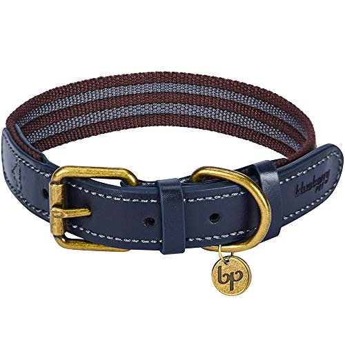 """Blueberry Pet 8 Colors Polyester Fabric Webbing and Soft Genuine Leather Dog Collar in Noir Grey and Burgundy, Medium, Neck 15""""-18"""