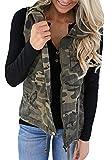 Tutorutor Women's Military Safari Utility Drawstring Lightweight Vest Jacket with Pocket (Small, Camo)
