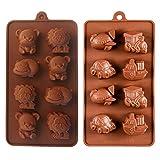 KBstore 2 Stück Silikon Schokoladenform Pralinenform - Tier und Auto Flugzeuge Trainieren Schiff...