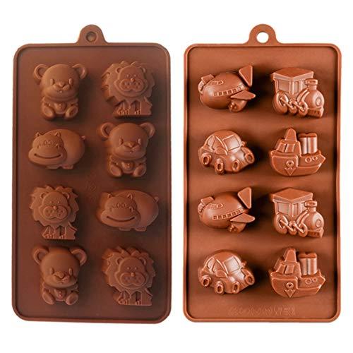 KBstore 2 Pezzi Stampo in Silicone per Cioccolato - Forma di Animale Auto Barca Treno Aereo Stampi in Silicone per Cioccolatini/Caramelle al caffè/Cubetti di Ghiaccio/Gelatina/Piccolo Sapone