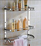 Oslen Stainless Steel Double Layer Chrome Finish Multipurpose Wall Mount Bath Kitchen Bathroom Accessories Rack Shelf , Silver , Set of 1