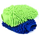 Car Wash Mitt 2 Pack- Extra Large Size Clean Tools Kits- Premium Chenille Microfiber Winter Waterproof Cleaning Mitts- Washing Glove with Lint Free & Scratch Free ( Blue + Green )