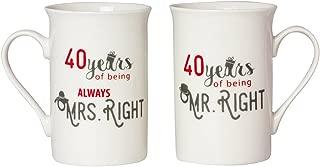 Designer 40th Anniversary Mr Right & Mrs Always Right Mug Gift Set by Happy Homewares
