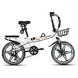 YSHCA16 Pulgadas Plegable Bicicleta, 7 velocidades Marco de Acero al Carbono Bicicleta Plegable Street con Estante Sillin Confort y Defensa Bicicleta Plegable Urbana,White-B