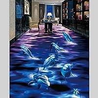 xueshao 表面の世界のカスタムフローリング装飾絵画3Dイルカ3D自己接着バスルームのリビングルームのフローリング-120X100Cm