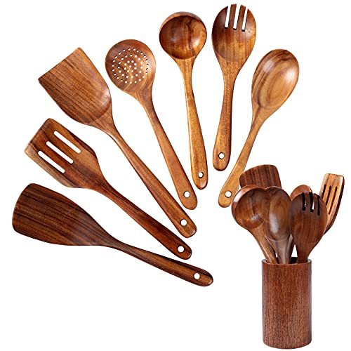 Wooden Spoons for Cooking 8 pack Wooden Utensils For Kitchen Natural Teak Wooden Spoons And Spatulas With Holder