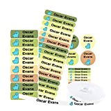 Pack 155 etiquetas personalizadas para marcar ropa y objetos. 100 Etiquetas de tela termoadhesiva + 55 etiquetas adhesivas de vinilo. (DINOSAURS)