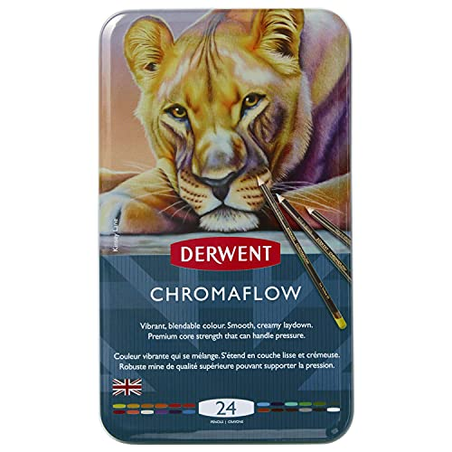 Derwent Chromaflow Colored Pencils   Art Supplies for Drawing, Sketching, Adult Coloring   Premier, Strong Soft Core Multicolor Color Pencils, Blending   Professional Quality   24 Pack