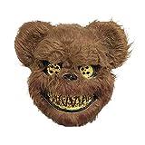 QYHSS Máscara de Oso de Peluche, Máscara de Miedo Máscaras de Oso Animal Máscara Espeluznante Marrón, para Halloween Peluche De Miedo Complementos De Rendimiento