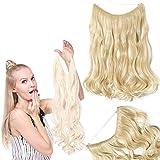 Silk-co Extension Fil Invisible Cheveux Synthétique Ondulé Extension a Fil Elastique Rajout Cheveux Wire In Hair Extension 20 Pouces, Blond Très Clair