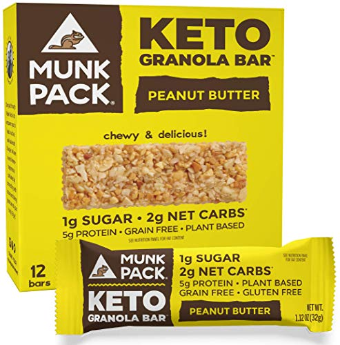 Munk Pack Peanut Butter Keto Granola Bars with 1g Sugar, 2g Net Carbs | Keto Snacks | Chewy & Grain Free | Gluten Free, Soy Free | Plant Based | No Sugar Added | 12 Pack