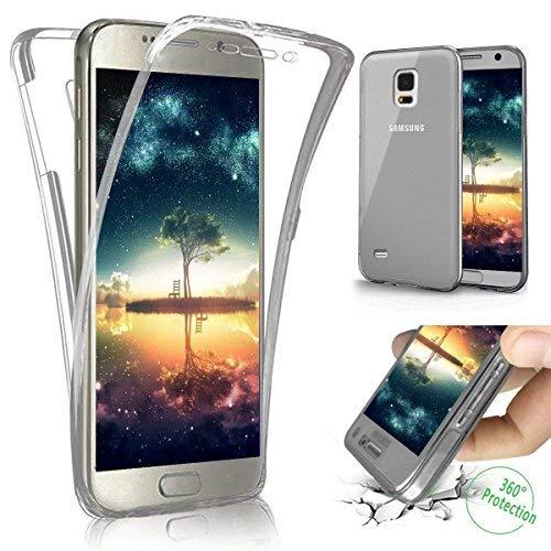 Funda Compatible Samsung Galaxy S5.KunyFond Carcasa Delgado Frontal Trasera 360 Grados Silicona 3 en 1 Estructura A Prueba Golpes Incluido TPU Gel Transparente Slim Bumper Completo Anti Rasguno-Negro