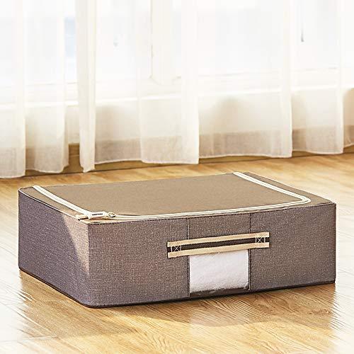 ZCED Aufbewahrungstasche Unterbett Aus Oxford-gewebe Unterbettkommode Mit Sichtfenster Stahlrahmen Aufbewahrungsbehälter Für Bettwäsche Kleidung Decken Kissen,C