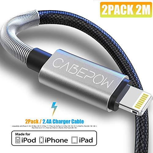 [ Apple MFi Certified ] 2Pack 2M iPhone Charger Kabel, CABEPOW Lange Bliksem Kabel 2M, Hoge Snelle 6ft iPhone Oplaadkabel Lood met Metalen Connector voor iPhone 11/11Pro/11Max/XS/XR/XS Max/8/7/6/5S/SE