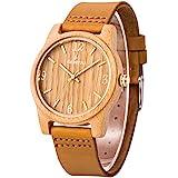 Sentai Natural Wood Watch, Genuine Leather Strap, Handmade Quartz Watches, Bamboo Wood Men's Women's Wrist Watch