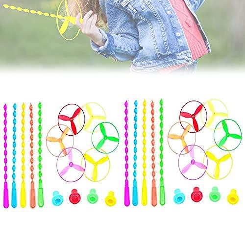 Novelty Toys Outdoors Spinning Flywheel,Bamboo Dragonfly Toy,Decompress Spinning Flywheel Flying Saucer Toy, Decompress Pull String Flying Saucers Rotating Toys(10pcs)