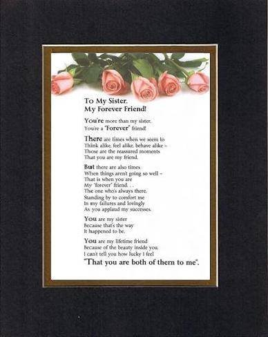 Touching and Heartfelt Poem for Sisters - My Sister, My Forever Friend Poem on 11 x 14 inches Double Beveled Matting (Black on Gold)