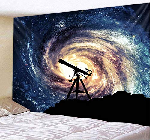 Empty Telescopio Vortex Starry Sky Series Tapiz Tapiz psicodélico Decoración del Dormitorio Tapiz de Pared Toalla de Playa Picnic Mat 200 × 150Cm
