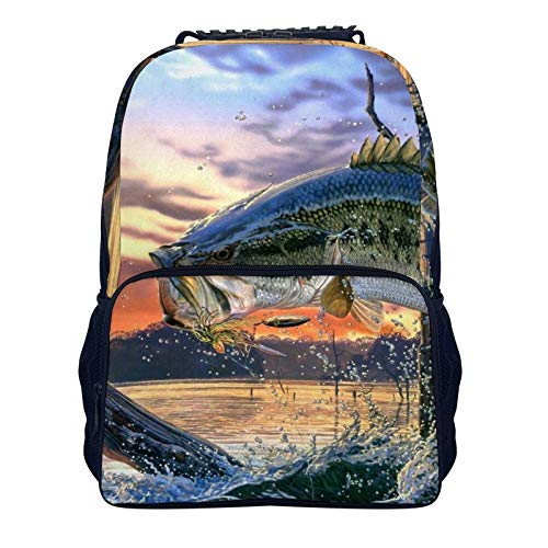 Aeoiba Fishing Graphic School Backpack, Student Bookbag for Boys Girls Kids Teenagers, fit School, Travel, Outdoors (Fishing Graphic, One Size)