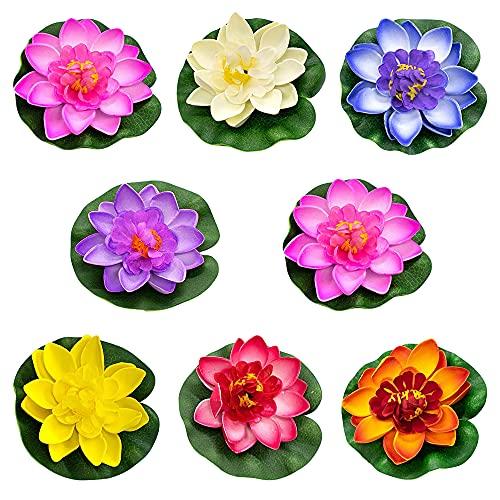 Schwimmende Blumen,8 Stück künstliche Seerosen Schwimmend,Schwimmende Seerose Klein,Chwimmende Aquarium Pflanzen,Lotus Blume Deko,Künstliche Teichpflanzen Klein(Farbe)