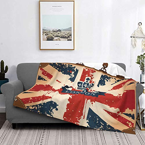 Minalo Personalized Fleece Blanket,Vintage Travel Suitcase With British Flag London Ribbon And Crown Image,Living Room/Bedroom/Sofa Couch Bed Flannel Quilt Throw Blanket,80' X 60'