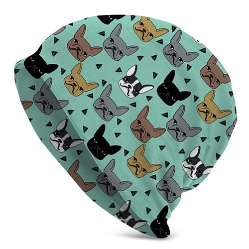 landianguangga Frenchie Francés Bulldog Raza Invierno Beanie Hat Bufanda Conjunto Forro Polar Warm Knit Grueso Cráneo Cap para