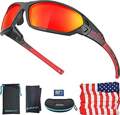 EAZYRUN HD Polarized Sports Sunglasses for Men & Women, with Flexible Lightweight TR90 Frame, UV400 Protection, Ideal for Cycling,Running, Driving and Fishing