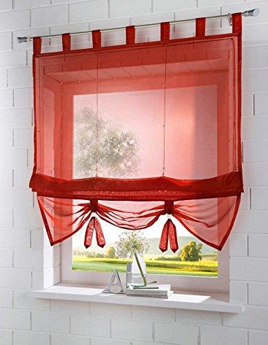 Yaland Voile Raffrollo transparentes einfarbiges Raffollo mit Schlaufen Schlaufenrollo Fenster Schal (BxH 100x155, rot) 1 Stück