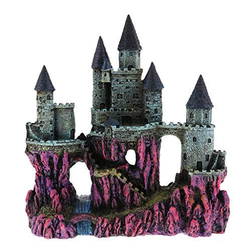 SM SunniMix Antike Schloss Turm Aquarium Dekoration Aqua Ornaments - Rot